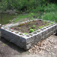 Raised bed using architectural block