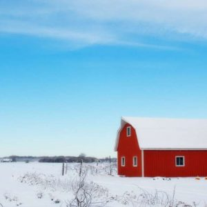 Red barn shown in quiet, cold winter - a good time to plan for next year!