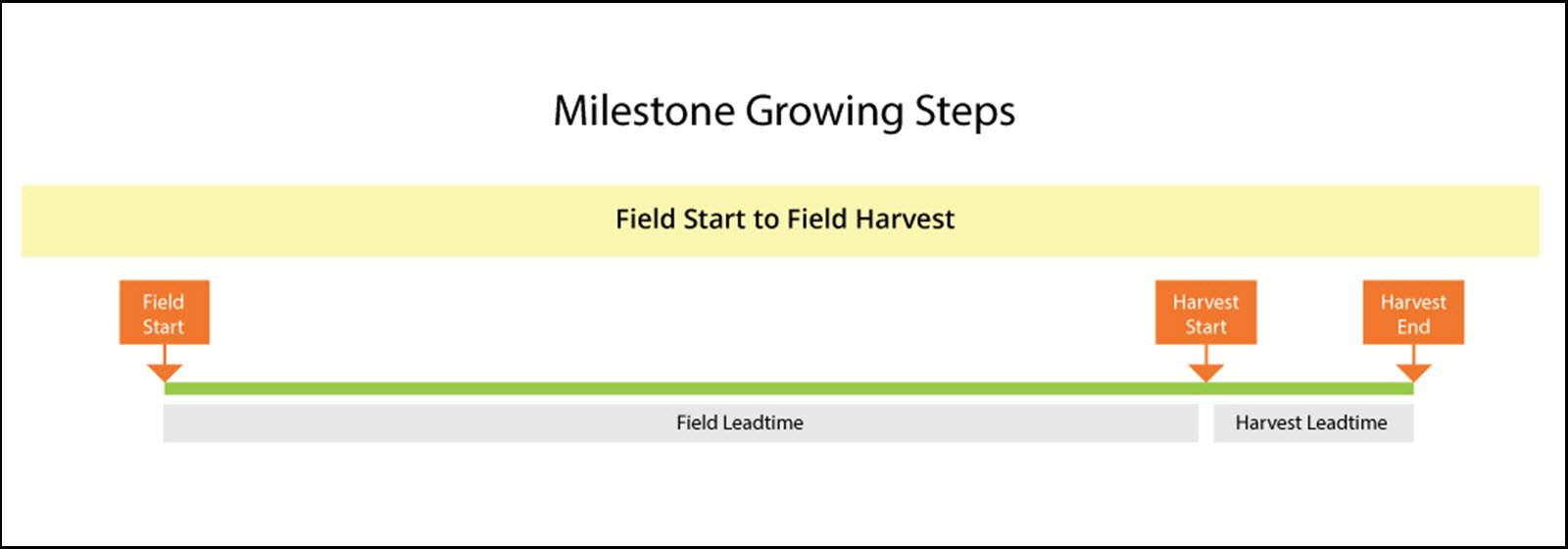 Here is an example of Farm Production Manager's Milestone Growing steps; it shows potential milestones for direct field start to field harvest process. Milestone Growing steps simplify scheduling.